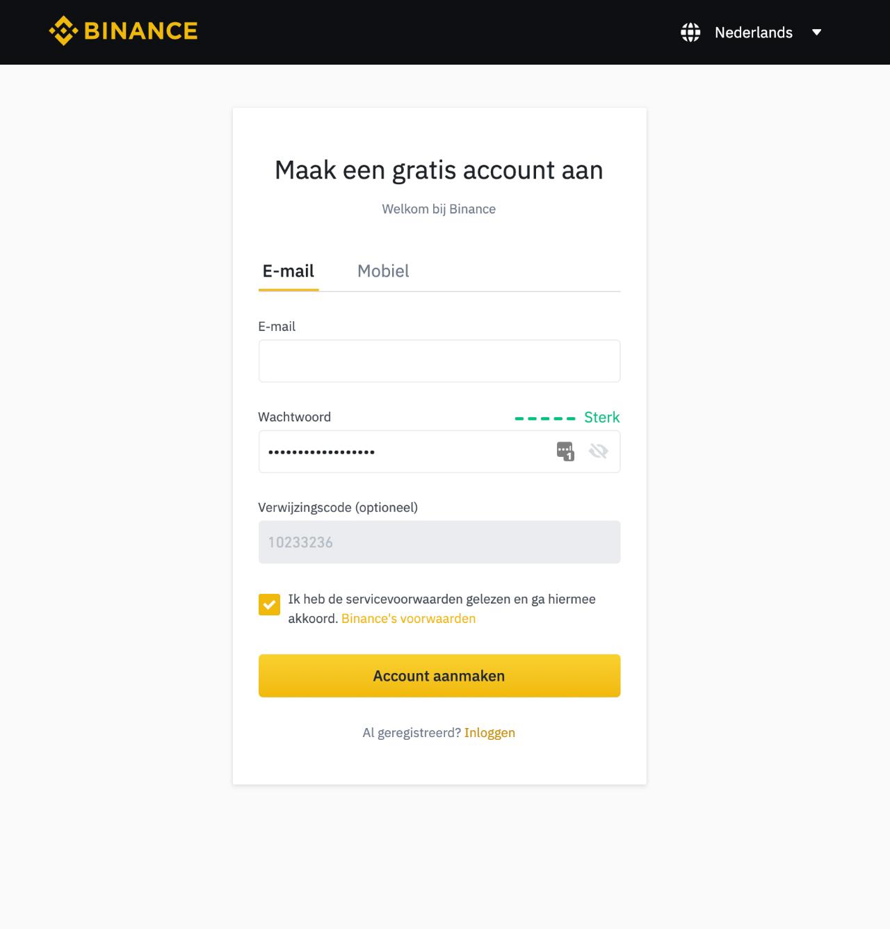 Cryptocurrency kopen via Binance